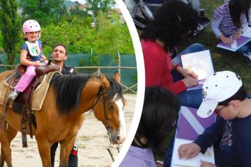 immagine di alcune attività svolte dalla fondazione con i bambini