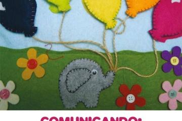 immagine libro tattile elefantino con palloncini in un prato usata in locandina evento Comunicando